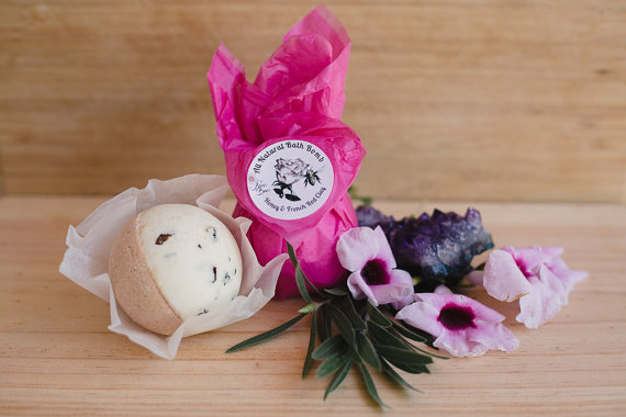 All natural Bath Bomb with Honey & French Red Clay