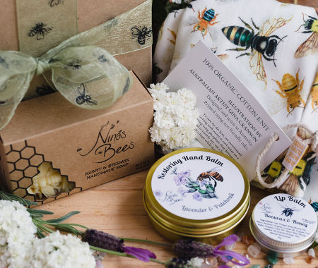 Beautifully presented gift pack with Australian Native Bees Scarf, Restoring Hand Balm , Beeswax Soap and Lip Balm